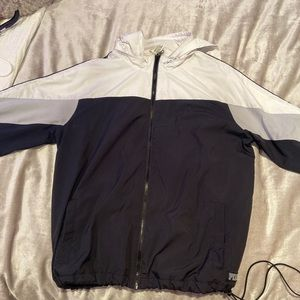 black and white windbreaker